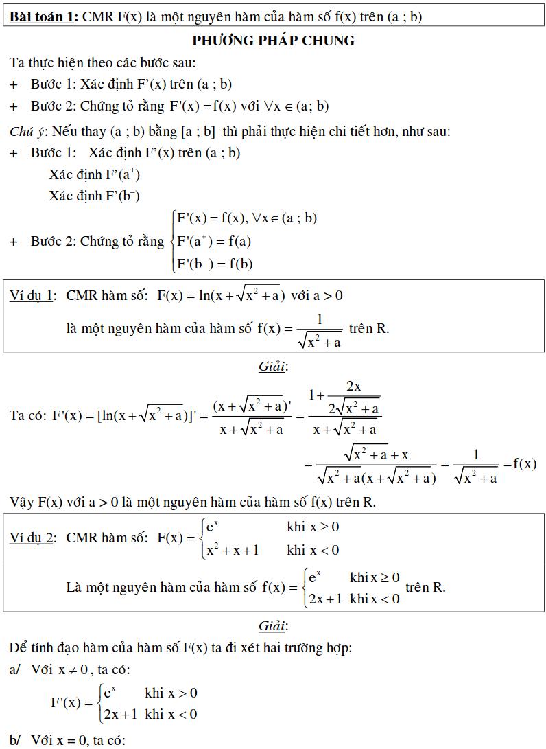 Bài toán xác định nguyên hàm bằng định nghĩa