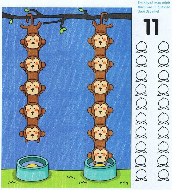 Dạy trẻ hiểu số 11 qua bài tập đếm số chú khỉ