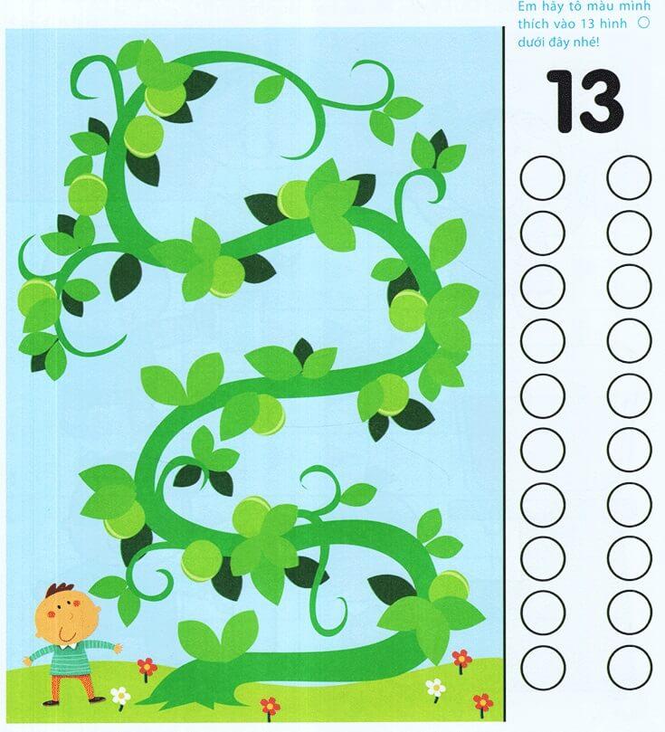 Dạy trẻ hiểu số 13 qua bài tập đếm số quả đậu