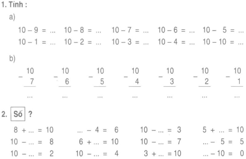 Bài tập toán tính cộng trừ không nhớ lớp 1