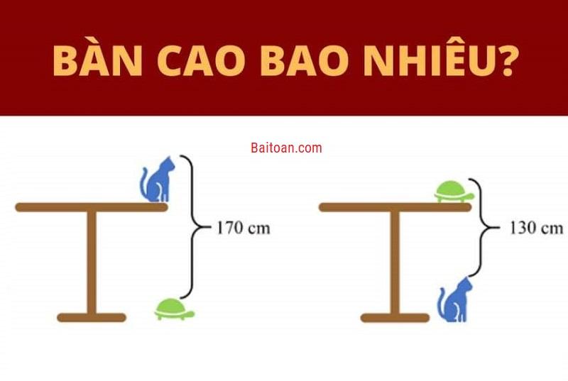 Bài toán tính chiều cao cái bàn
