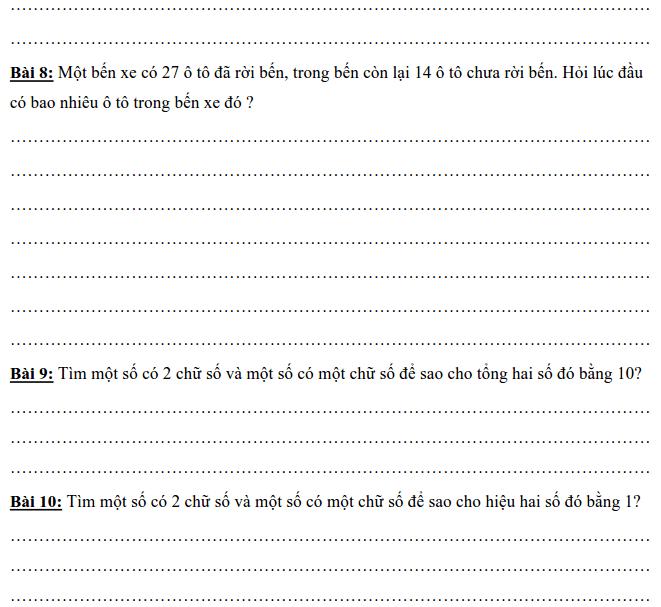 Một số bài toán về phép cộng có nhớ lớp 2