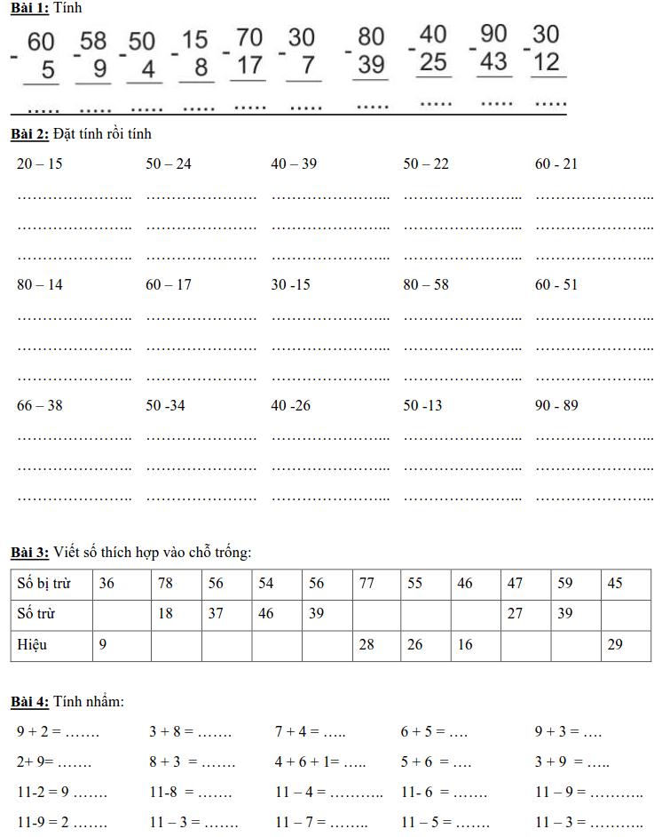 Một số bài toán về phép trừ có nhớ lớp 2