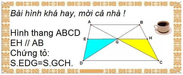 Bài toán chứng minh diện tích 2 hình bằng nhau