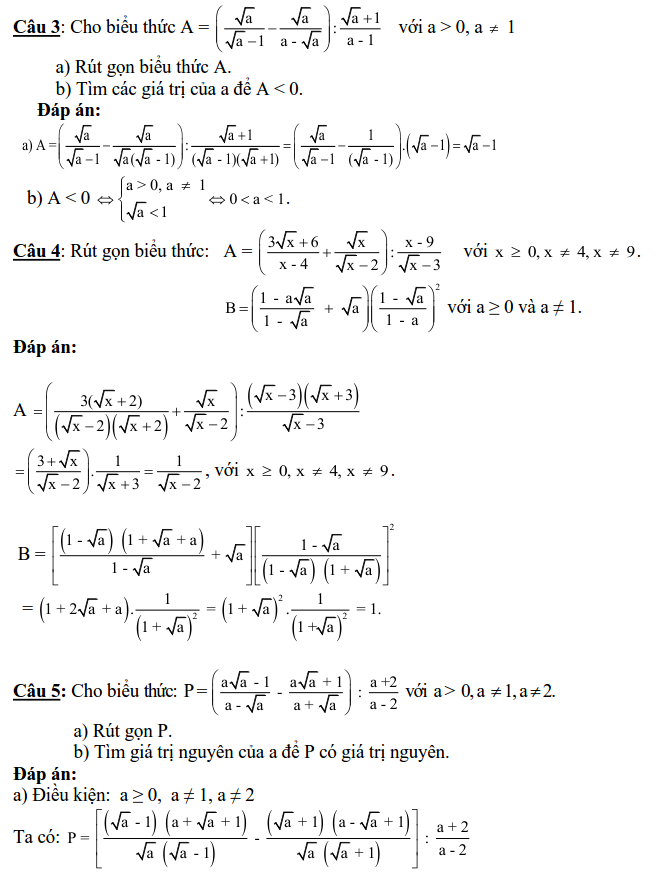 Giải một số bài toán rút gọn biểu thức ôn thi vào 10